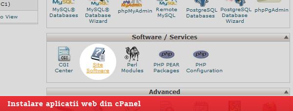 instalare aplicatii web din cpanel